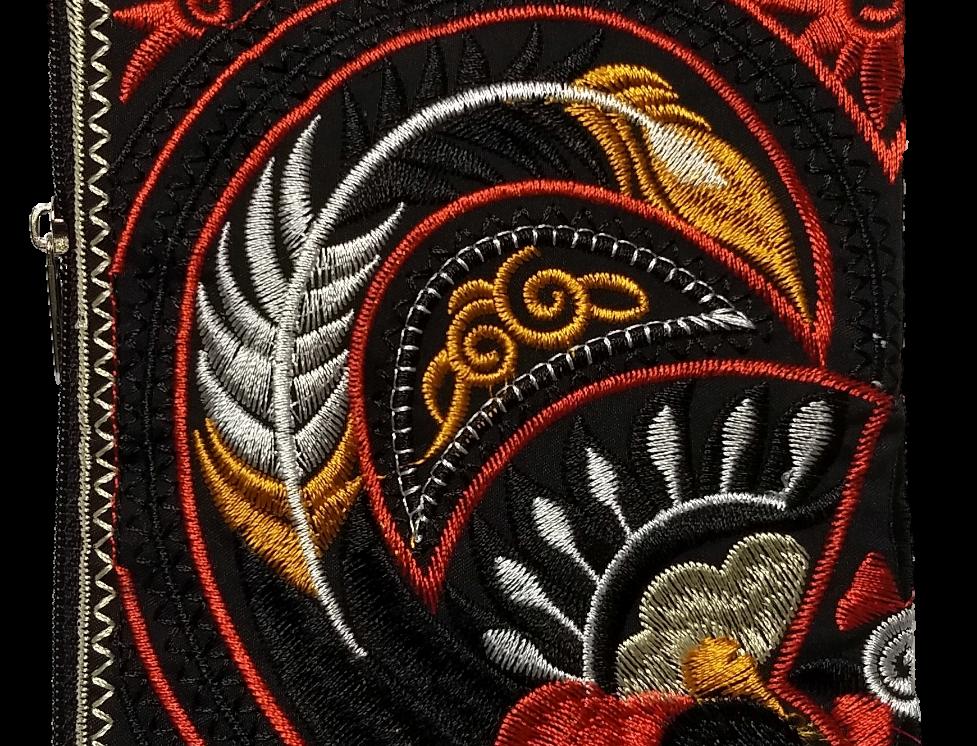 Embroidered Purse - Black/Orange/Yellow