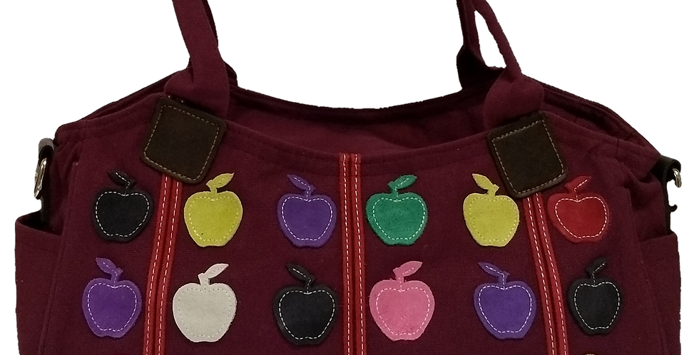 Canvas Handbag with Cross Body Strap - Apples Burgandy