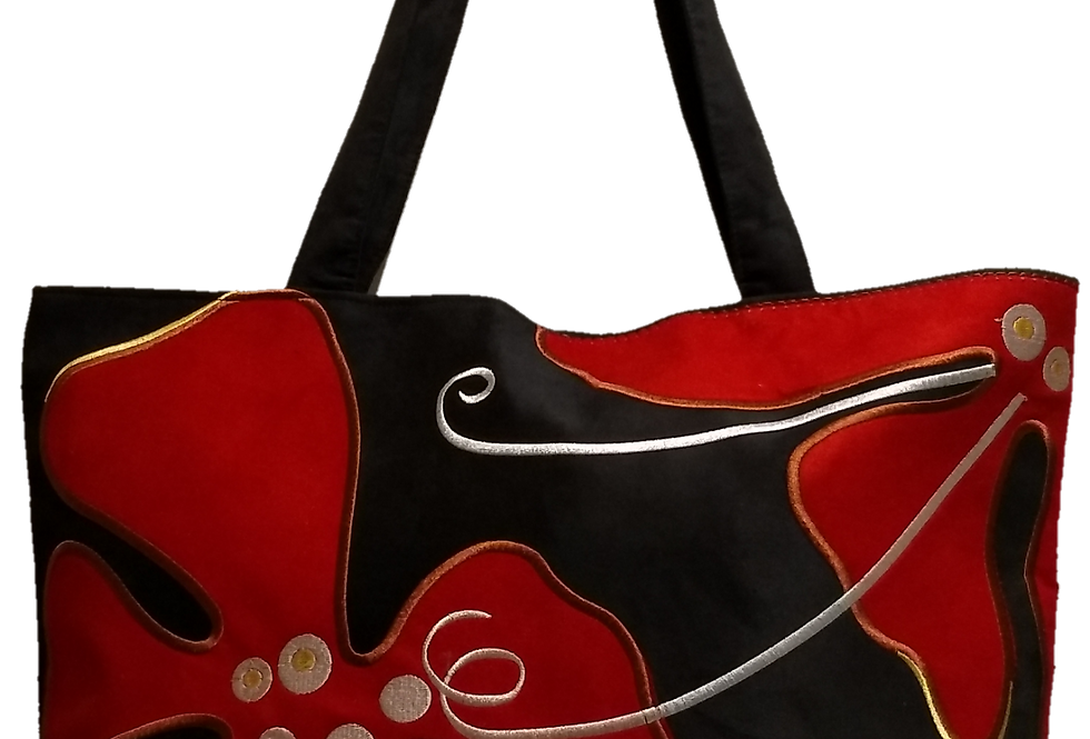 Suedette Hippy Flower Black/Red