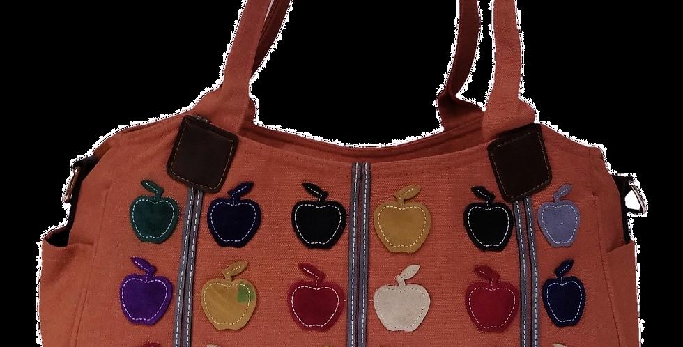 Canvas Handbag with Cross Body Strap - Apples Salmon