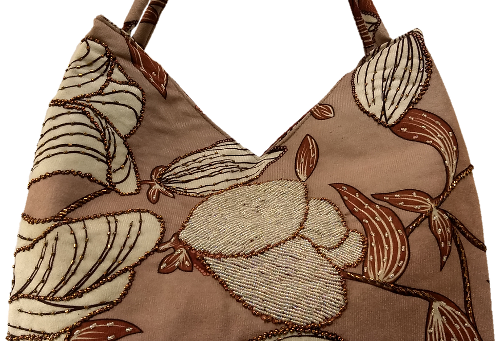 Suedette Beaded Hibiscus Tote - Coffee/Brown/White