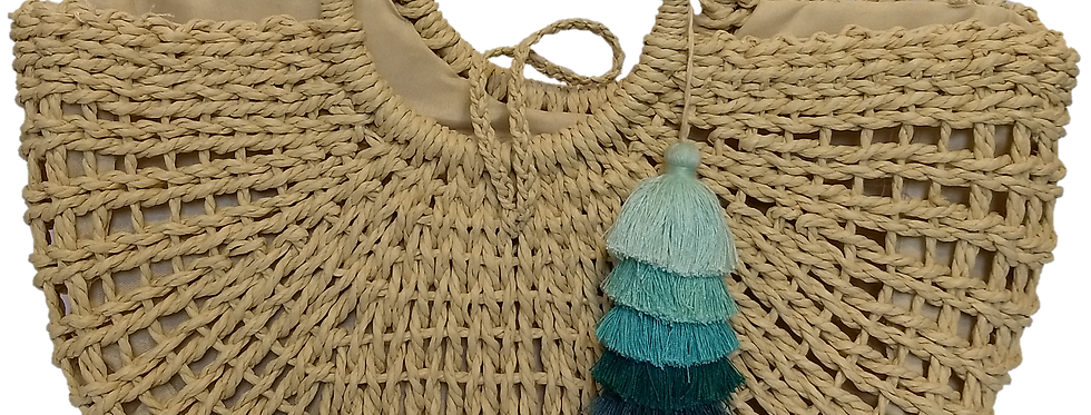 Natural Woven Fibre - Green/blue