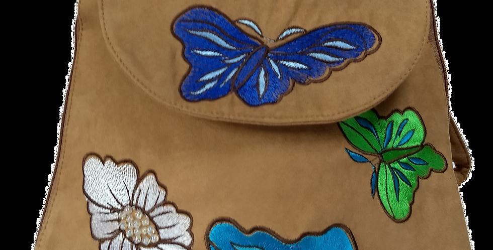 Suedette Butterflies and Flowers Mocha