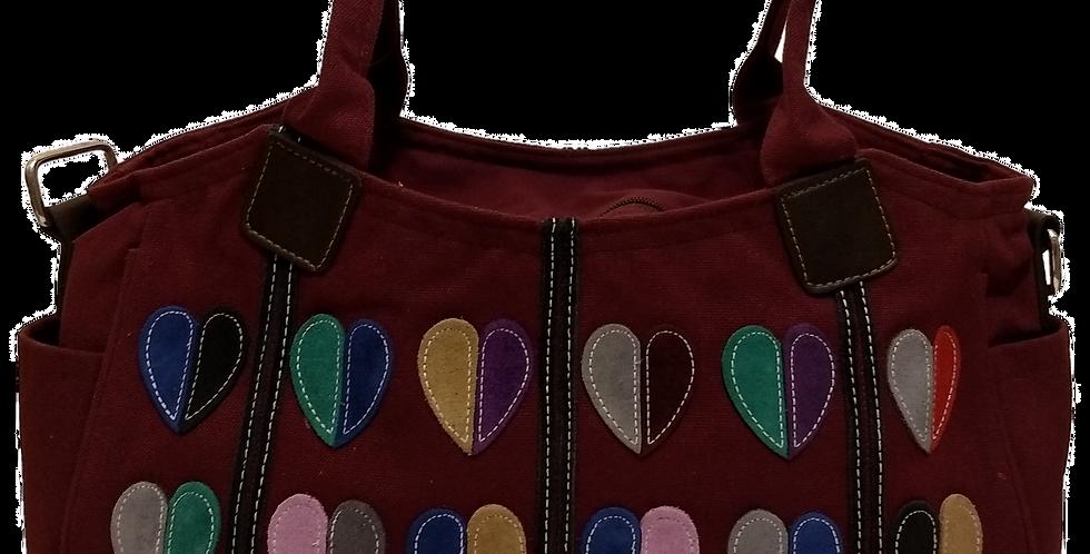 Canvas Handbag with Cross Body Strap - Hearts Burgundy