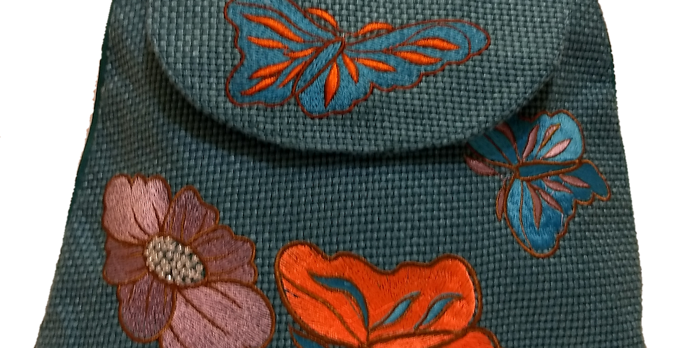 Woven Fabric Butterflies and Flowers Blue