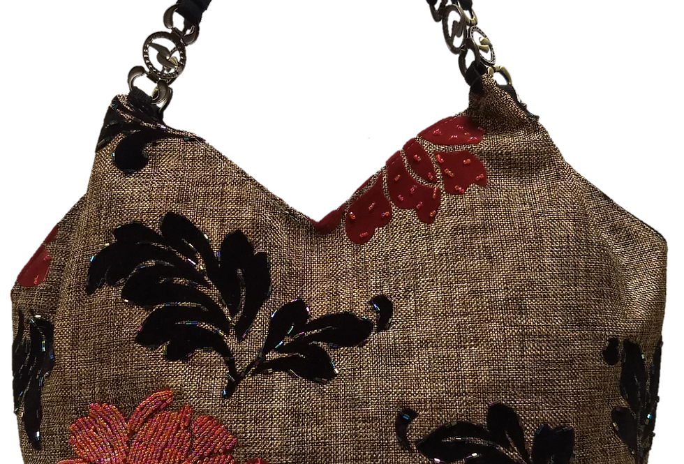 Medium Fabric Flower and Leaf Tote - Grey/Brown/Red/Silver