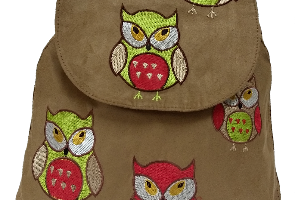 Suedette Embroidered Green Owl Gold