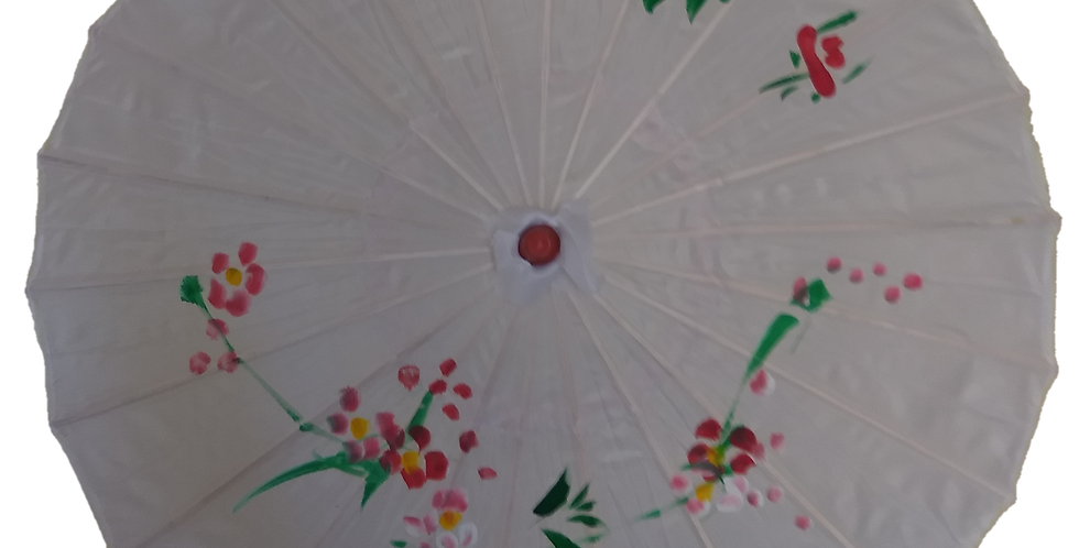 Hand-Painted Parasol - White