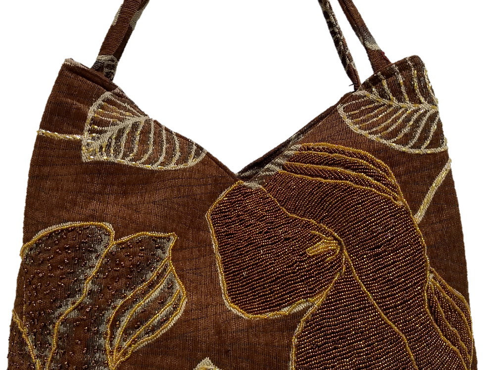Large Leaf & Hibiscus Tote - Choc/Gold/Bronze/Silver