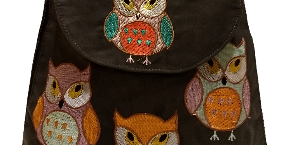 Suedette Embroidered Owl Black