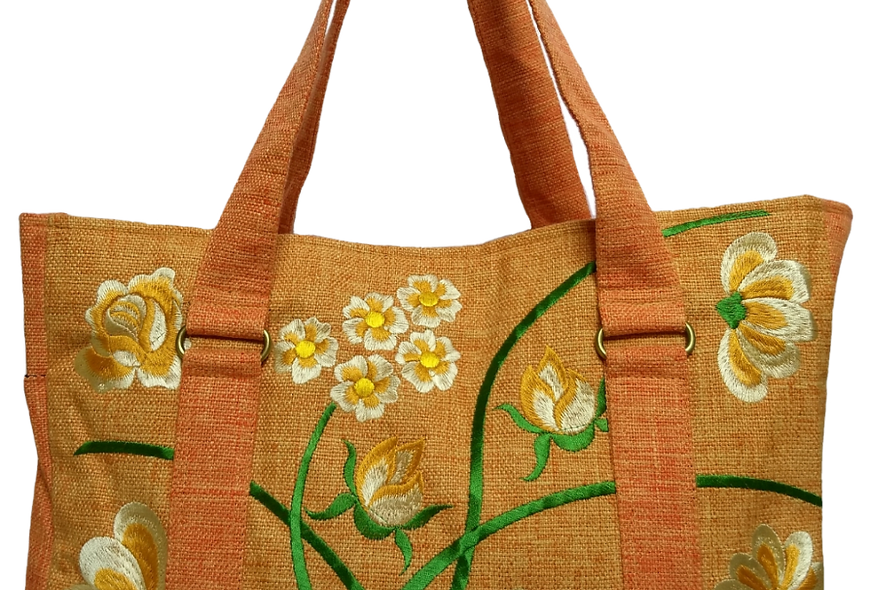 Embroidered Fabric Handbag - Light gold