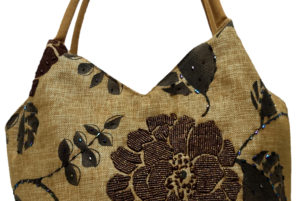 Medium Fabric Flower and Leaf Tote - Coffee/Brown/Bronze
