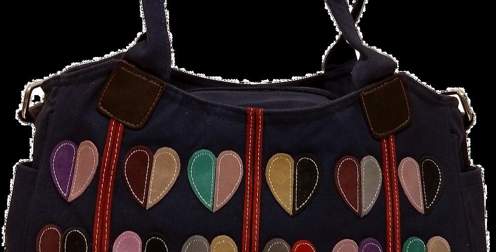 Canvas Handbag with Cross Body Strap - Hearts Navy