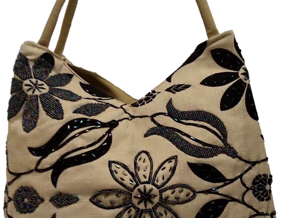 Large Fabric Flower and Leaf Tote - Cream/Black