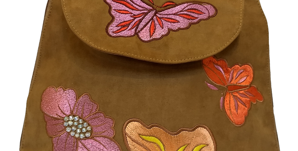 Suedette Butterflies and Flowers Dark Ginger
