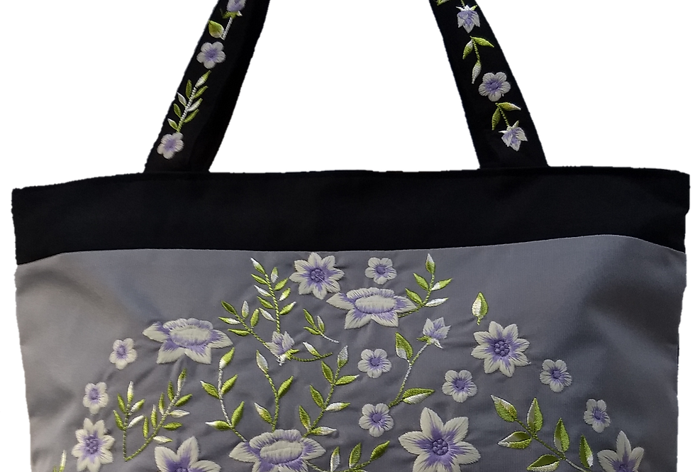 Embroidered Fabric Handbag - Lilac/Black