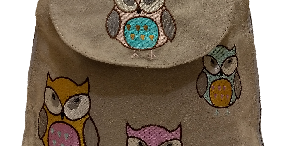 Suedette Embroidered Owl Light Grey
