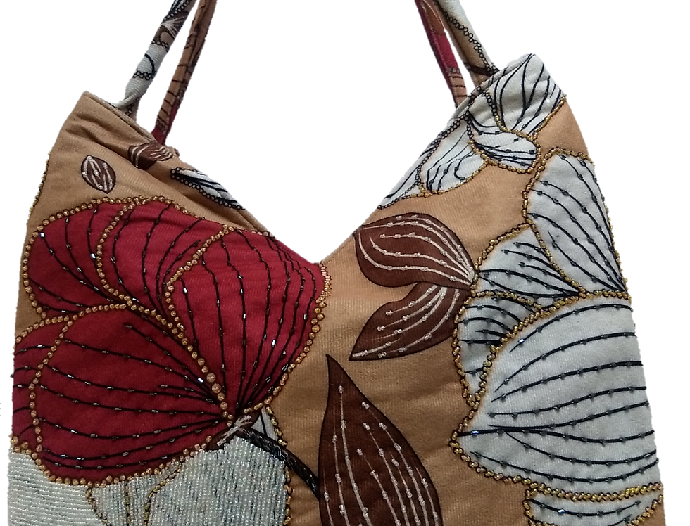 Suedette Beaded Hibiscus Tote - Coffee/White/Red/Brown