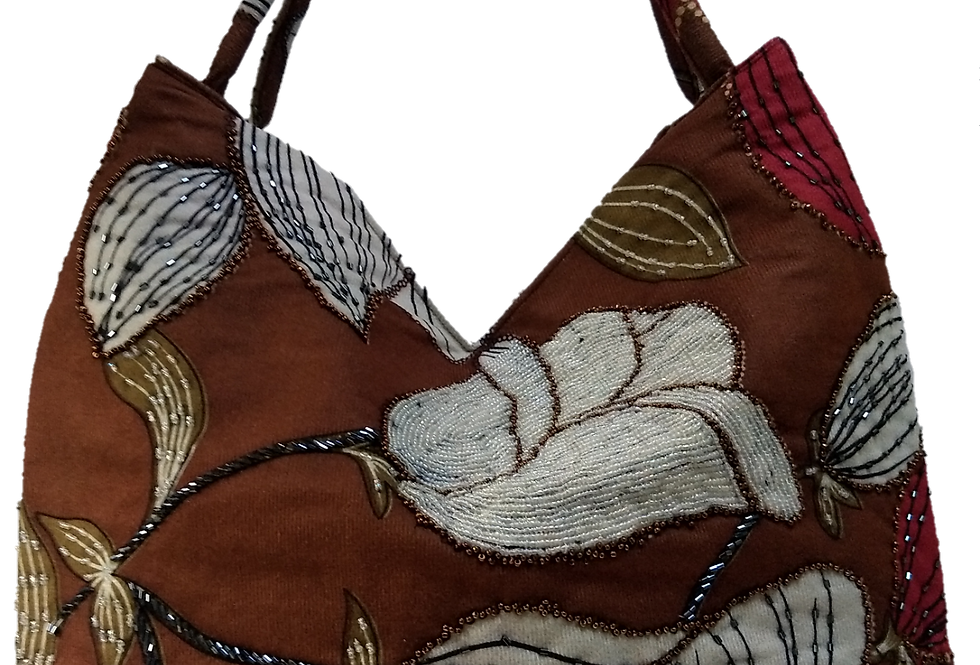Suedette Beaded Hibiscus Tote - Tobacco/Red/White