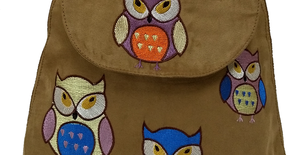 Suedette Embroidered Owl Tobacco