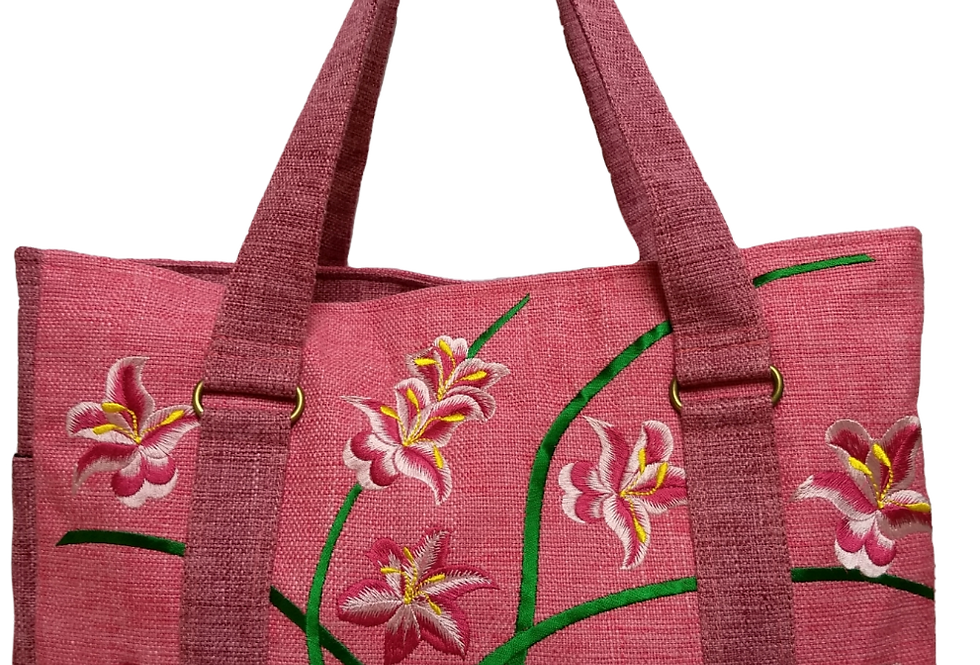 Embroidered Fabric Handbag - Rose