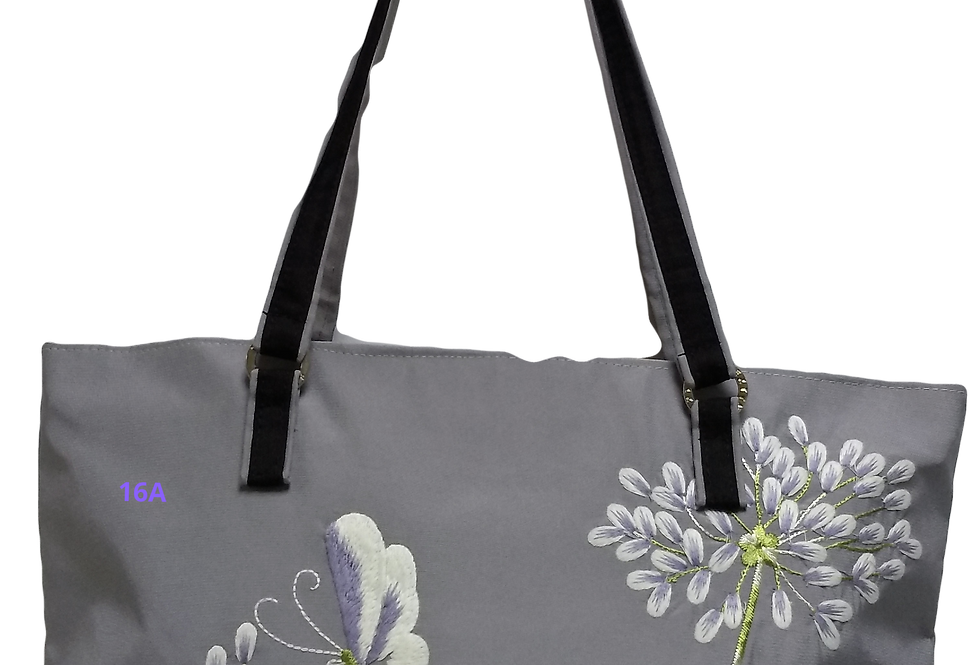 Embroidered Agapanthus Satin Bag - Silver Grey