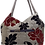 Thumbnail: Medium Fabric Flower and Leaf Tote - Grey/Red/Silver