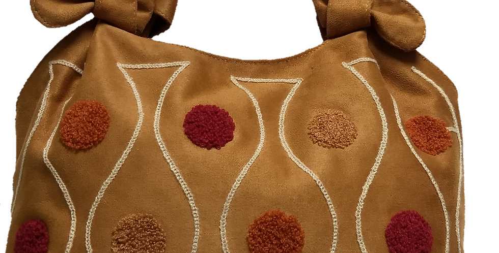 Small Suedette Hand Bag - Sand