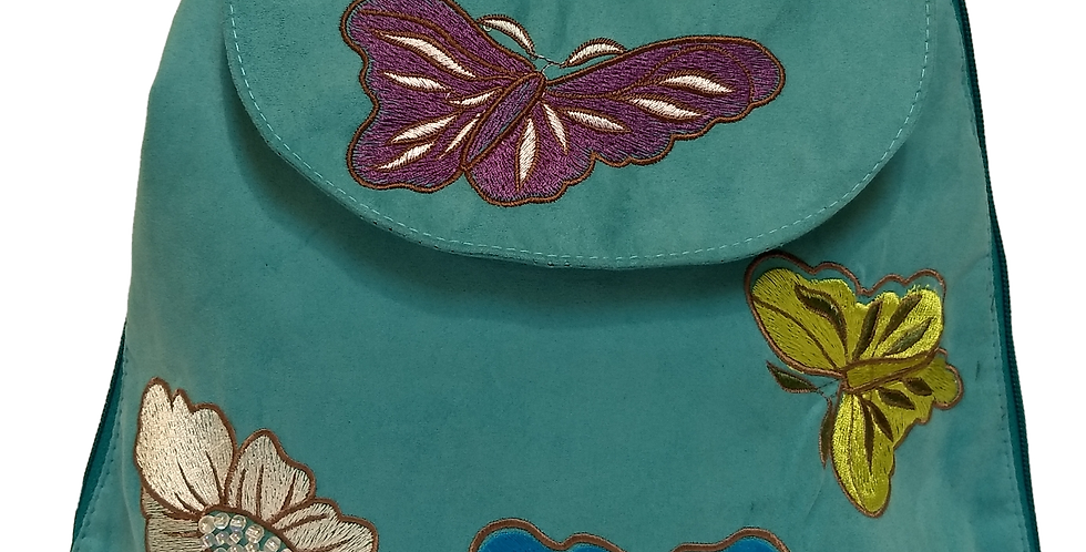 Suedette Butterflies and Flowers Turquoise