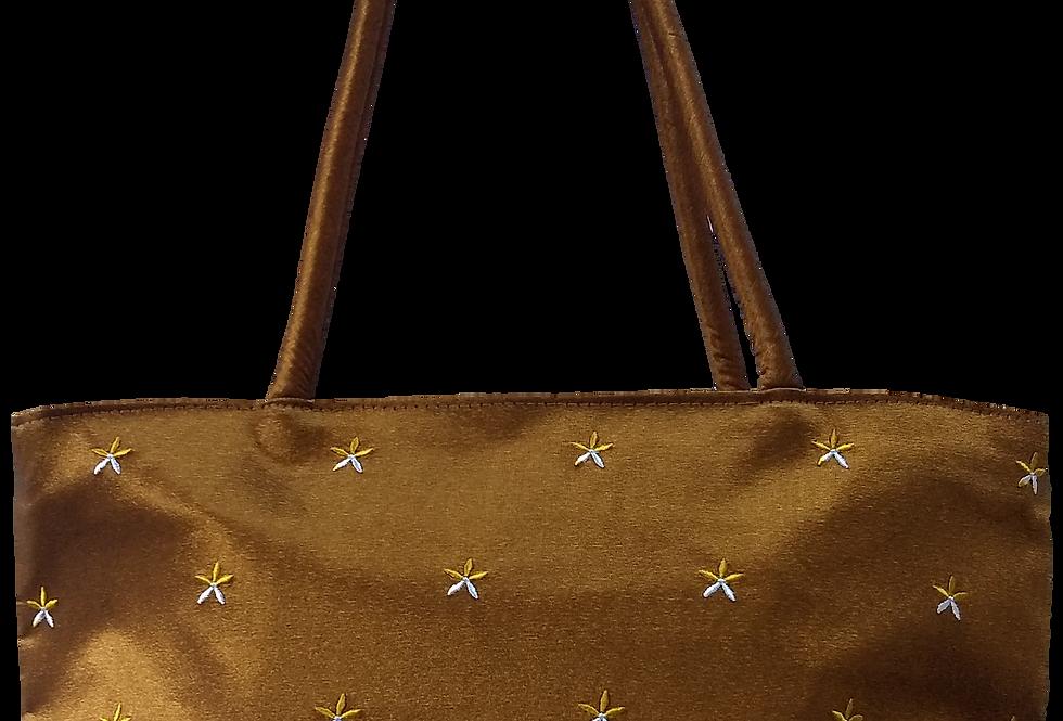 Embroidered Star flower bag - Gold