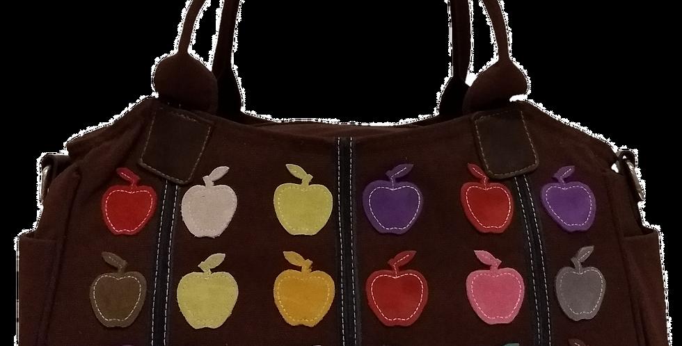 Canvas Handbag with Cross Body Strap - Apples  Dark Chocolate