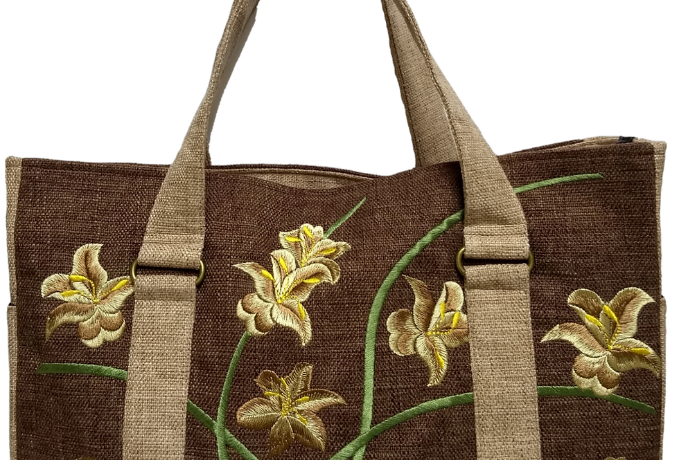 Embroidered Fabric Handbag - Dark Chocolate