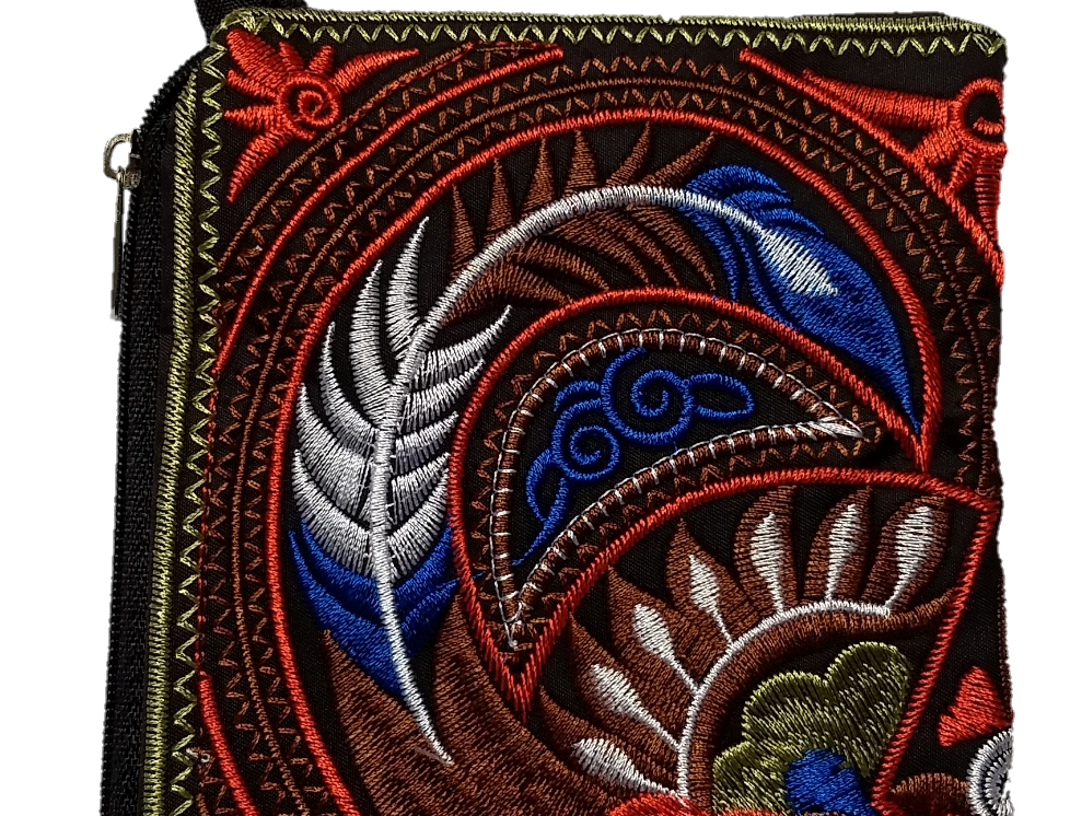 Embroidered Purse - Blue/Brown/Orange