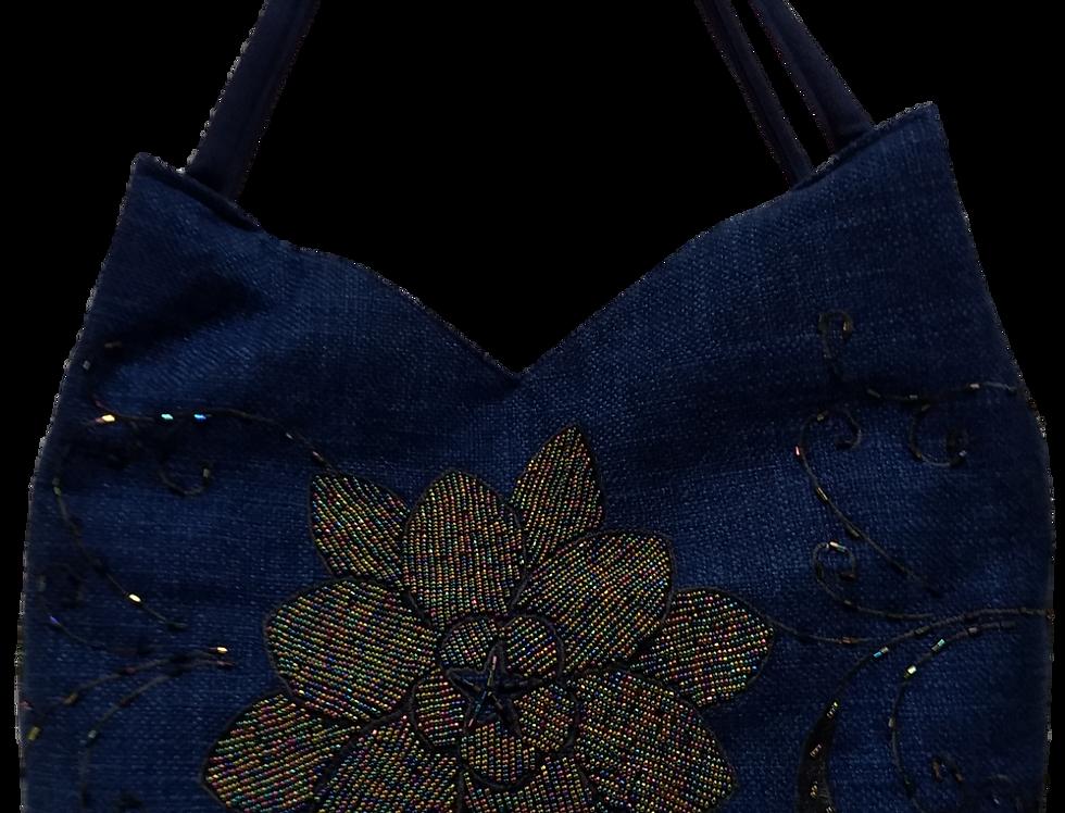 Large Chrysanthemum Tote - Blue/Black