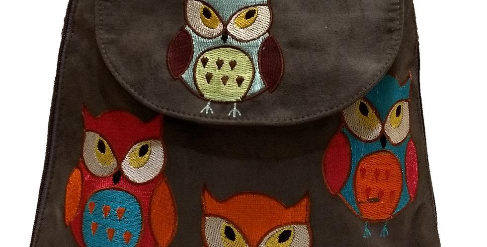 Suedette Embroidered Owl Dark Coffee