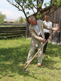 Prince Charles mowing at the barn
