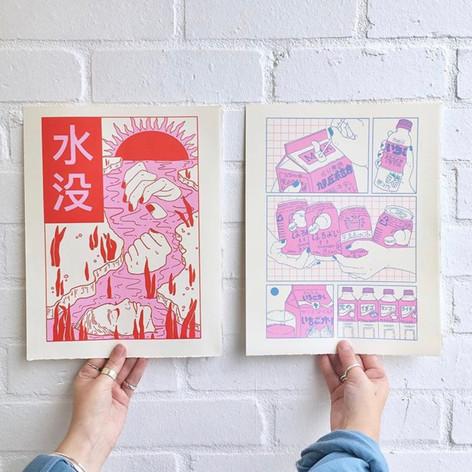 2 screen prints, both two colour