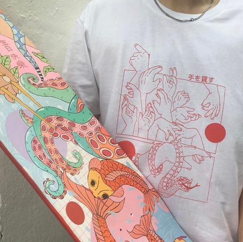Skateboard and T-shirt