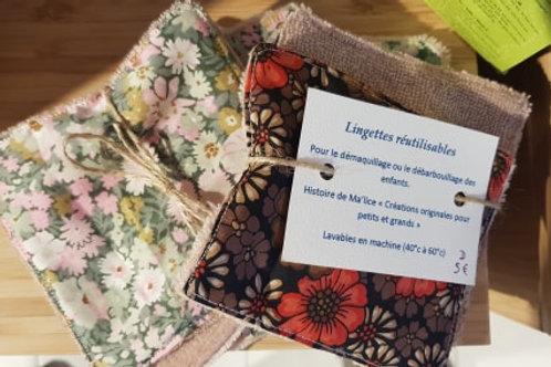 Lingettes artisanales réutilisables - 2 pièces