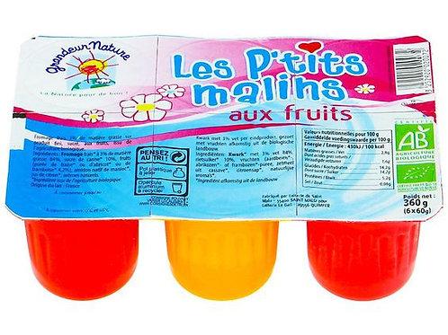Petits fromages frais aux fruits - Abricot x2 fraises x2 framboise x2 - 6x60g