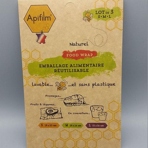 Apifilm Emballage alimentaire réutilisable - x3 - S, M, L