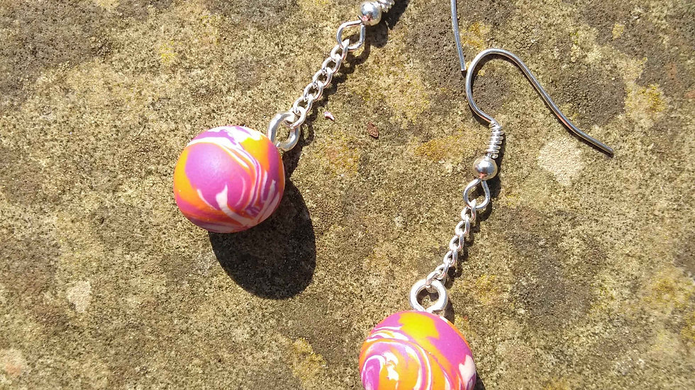 Tangerine Sphere Earrings