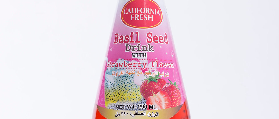Basil Seed Drink with Strawberry