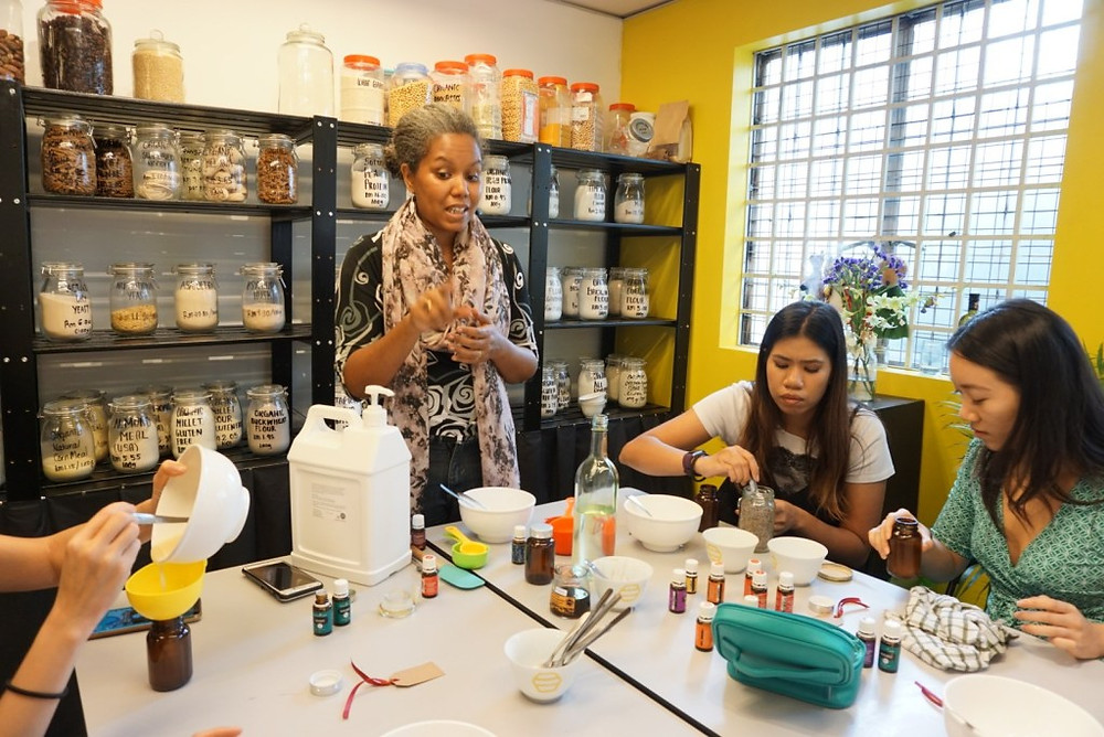 ruth conducting soap making workshop