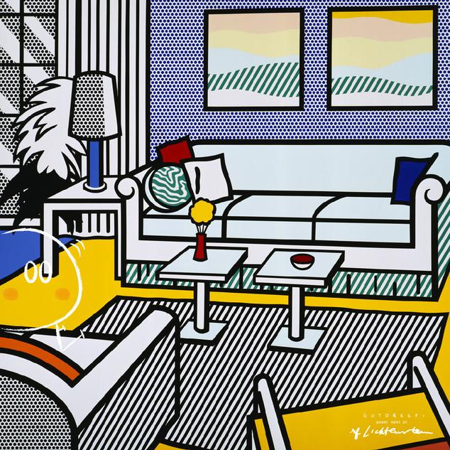 roy lichtenstein . interior with restful paintings