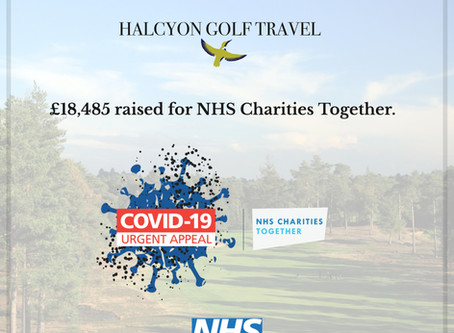 Halcyon Golf Travel raises over £18,000 for NHS Charities!