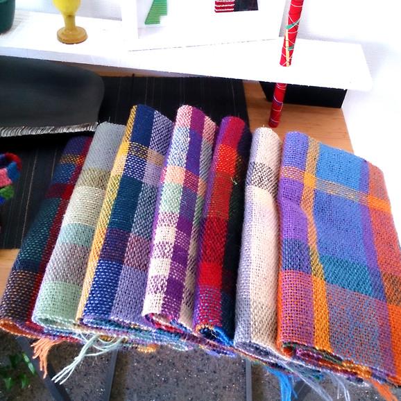 紡毛糸平織格子柄