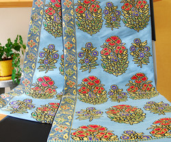 本袋帯花弁インド更紗