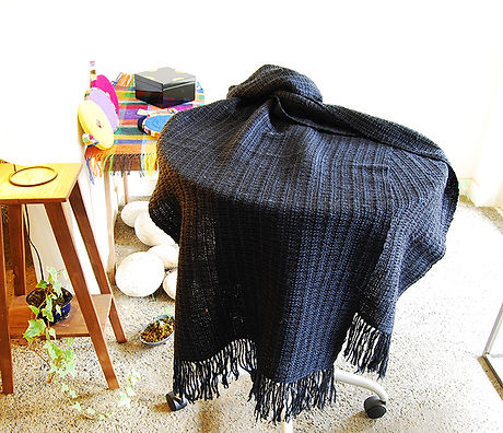 絹、ウール混織ショール