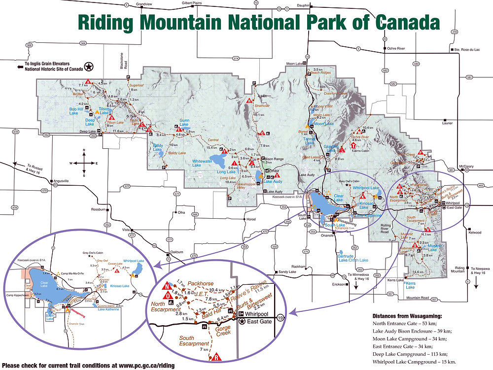 Riding Mountain Park, Manitoba, map